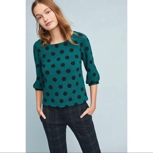 Anthropologie Maeve Decatur Polka Dot Top Size M